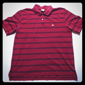 Brooks Brothers Polo Shirt XL Red w/ Blue Stripes